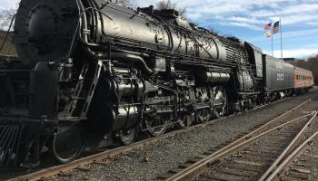 An old steam train on display in Sacramento, CA